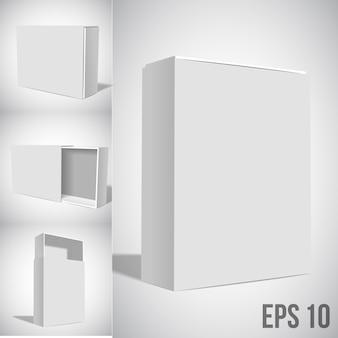 White box set mockup isolated on white