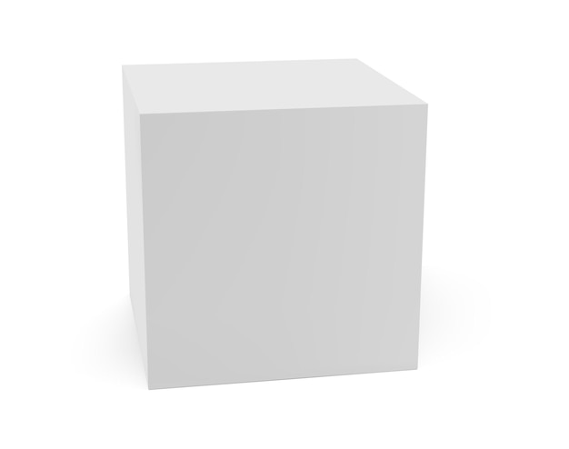 White box side view isolated on light background Premium Vector