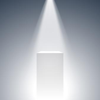 白い箱。スタンド。ペデスタル。トリビューン。スポットライト。 。