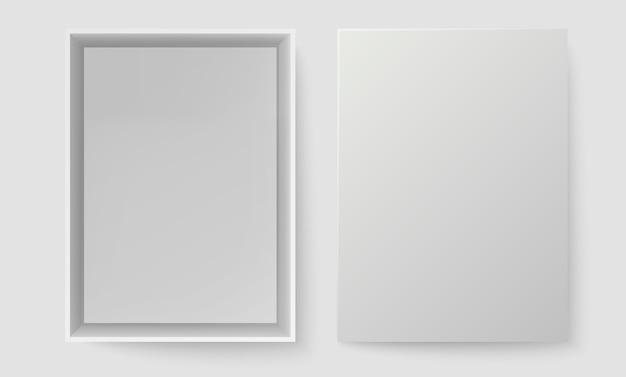 백색 상자 평면도. 열린 팩 상자를 조롱하십시오. 빈 빈 현실적인 오픈 골 판지 종이 상자.