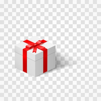 White box with a bow tied with ribbon  on transparent background. present and surprise.  illustration