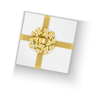 The white box with a gold bow, gift box,   illustration