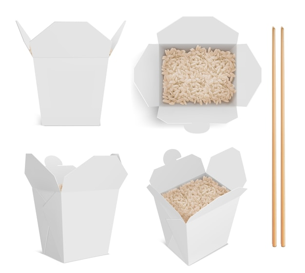 White box with rice and chopsticks, paper packaging for chinese or japanese food.