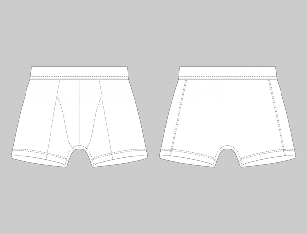 White boxer shorts isolated on grey