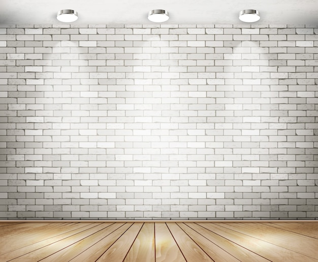 White brick room with spotlights.