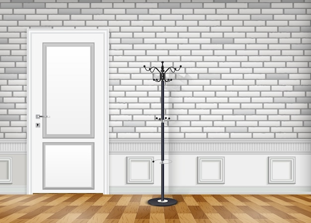 White brick wall with a closed door and hat and coat hanger