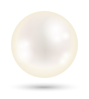 A white bright pearl on a white background