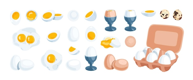 白、茶色、ウズラの卵のセット。半熟、生、丸ごと、卵黄、ベネディクト、目玉焼き。