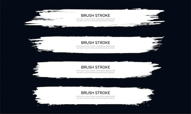 White brush stroke banner template collection