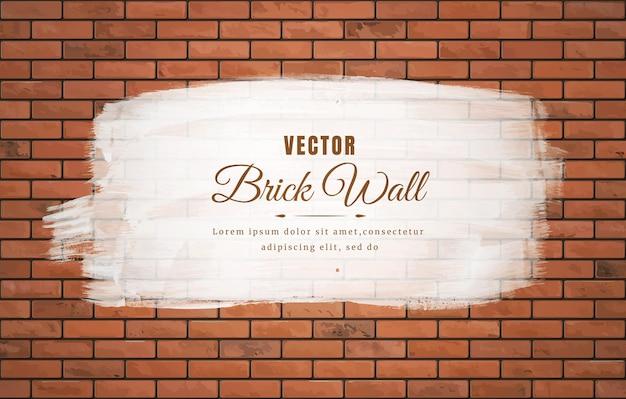 茶色のブロックレンガの壁パターンテクスチャ背景に白いブラシストローク。