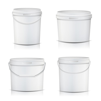 White bucket set container