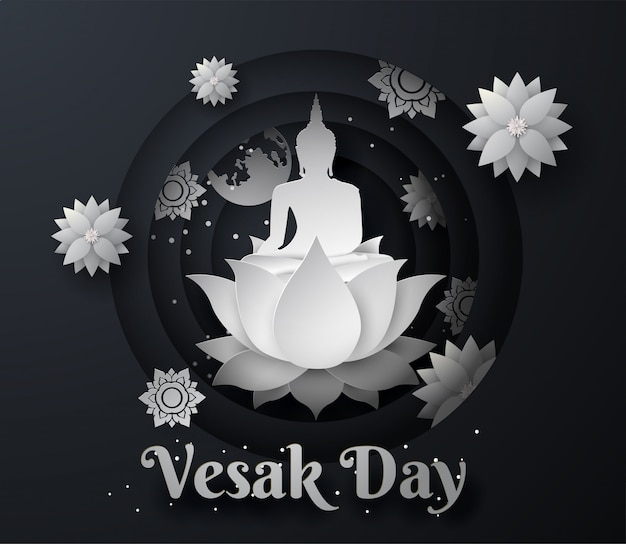 White buddha on lotus happy vesak day background