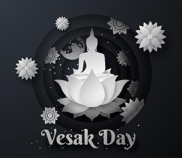White buddha on lotus happy vesak day background