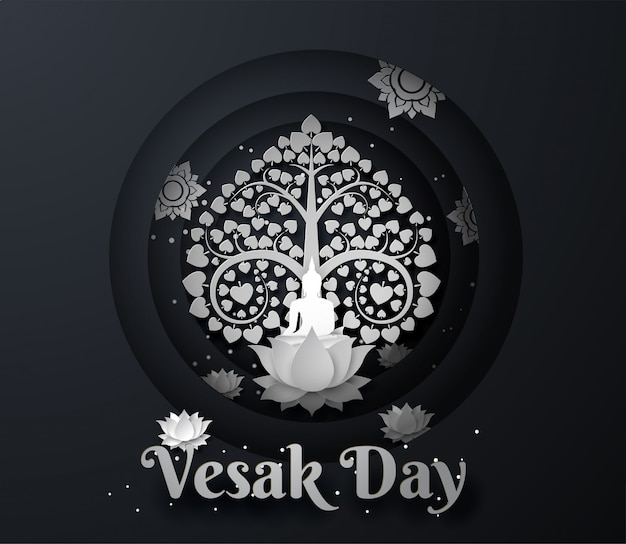 White buddha on lotus with bodhi tree happy vesak day background