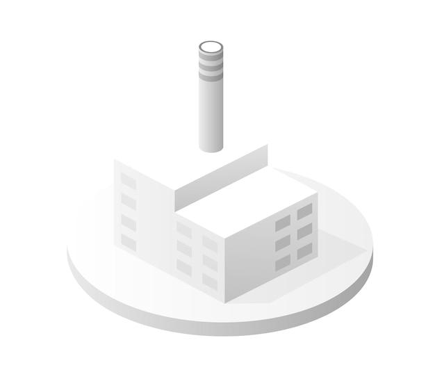白い建物のアイコンスマートビルディングホームアーキテクチャは、テクノロジービジネス機器フラットスタイル都市アイソメトリックイラストのアイデアです