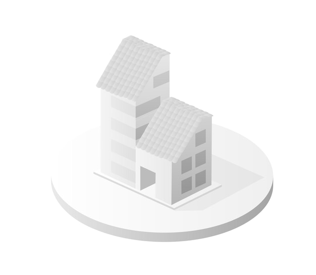 White building icon smart building home architecture is an idea of technology business equipment flat style urban isometric illustration