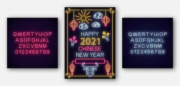 White bull 2021 chinese new year poster in neon style with alphabet. celebrate invitation of asian lunar new year.