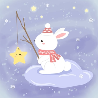 White bunny fishing star in the sky