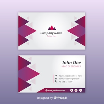 White and burgundy gradient business card template with logo