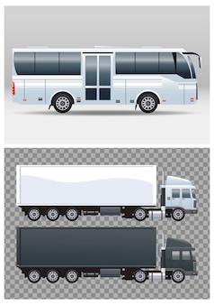 흰색 버스와 트럭이 대중 교통 차량을 물들입니다.