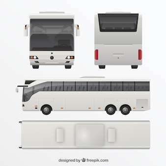 White bus in different views
