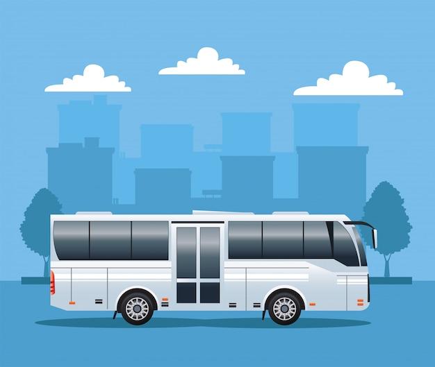 Белый автобус общественного транспорта на городской иллюстрации