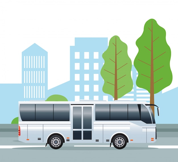 市内の白いバスの公共交通機関車両
