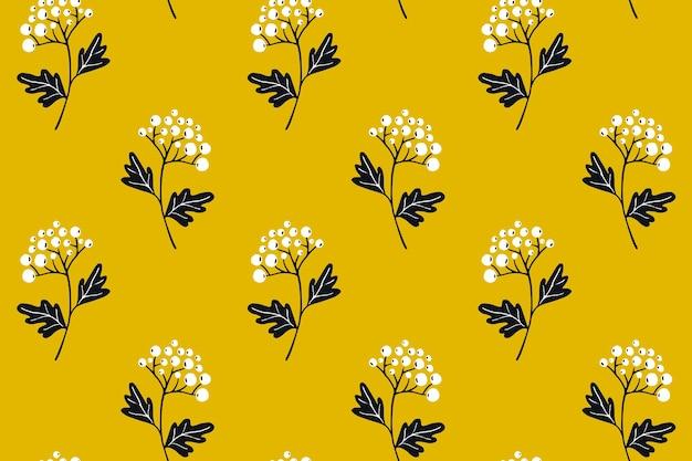 黄色の背景に白いブッシュベリーのシームレスなパターンテキスタイルデザインの繊細な質感