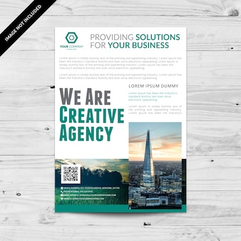 White business brochure with aquamarine details