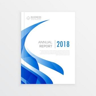 A4サイズの青い波の年次報告書のページで会社のビジネスパンフレットのテンプレートデザイン