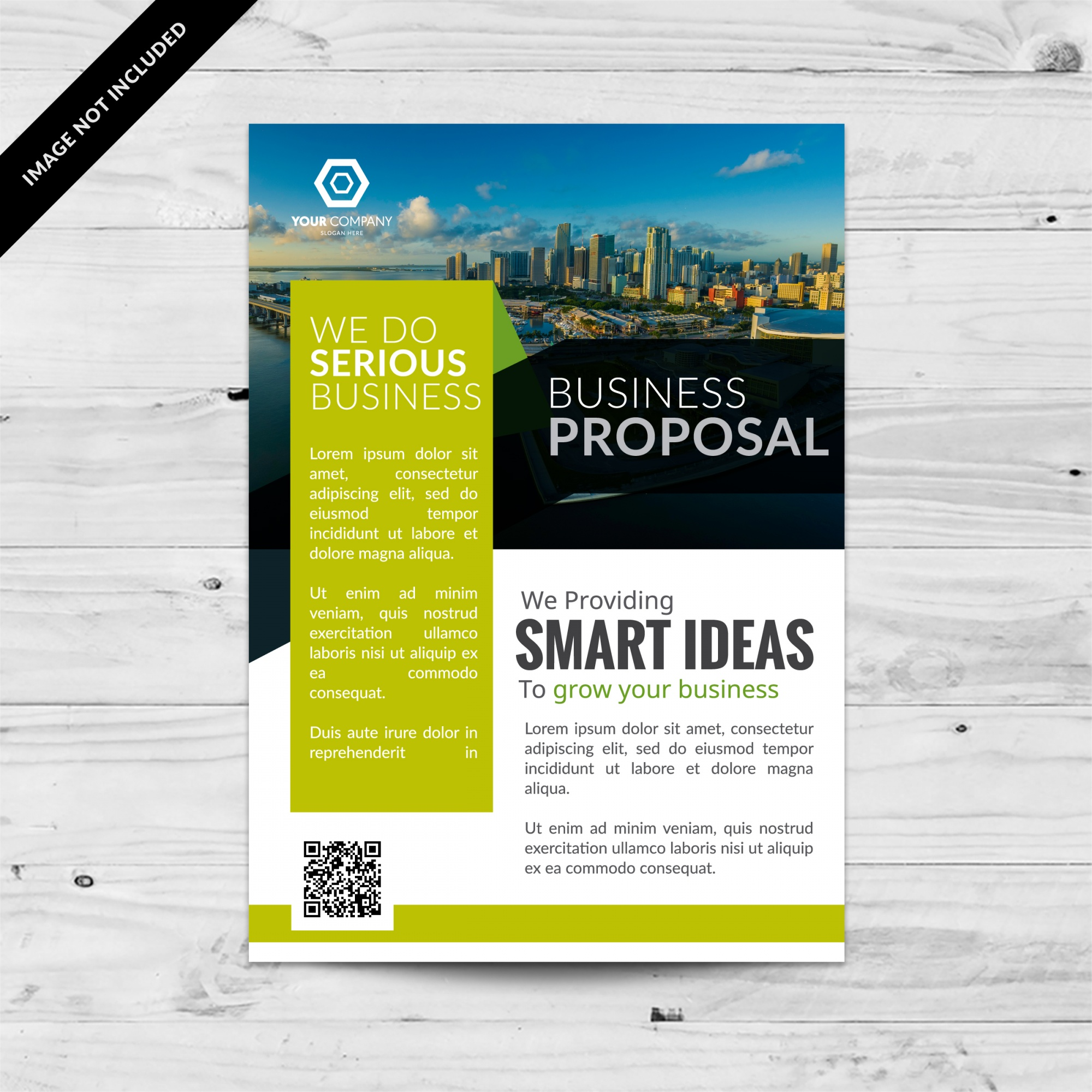 White business brochure with green details