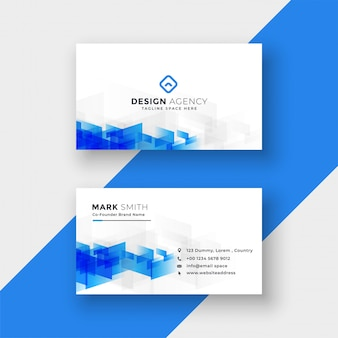 White business card with abstract blue shapes