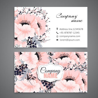 White business card with beautiful flowers