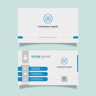 Белая визитка с синими деталями элегантного дизайна современного шаблона