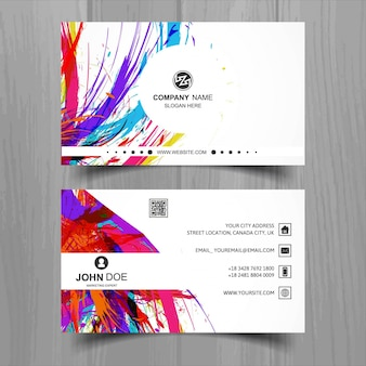 White business card with ink stains