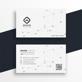 White business card with network mesh lines