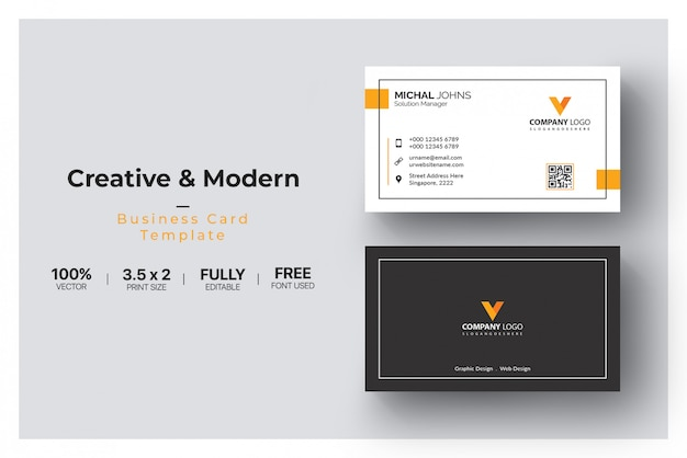 White business card with orange details