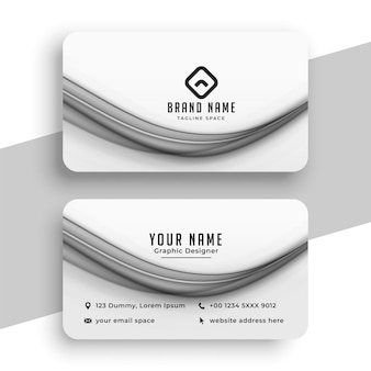 White business card with wave shape