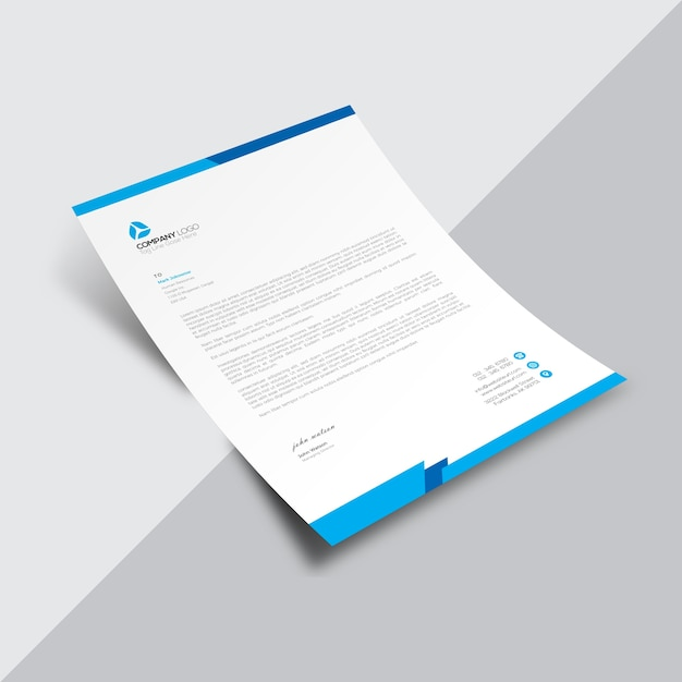 White Business Document With Blue Borders