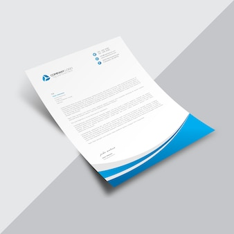 White business document with elegant blue details