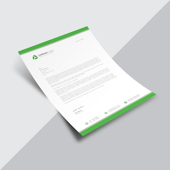White business document with green borders