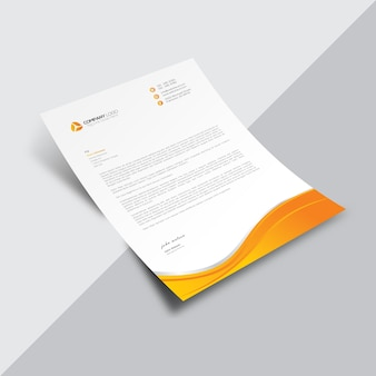 White business document with orange wavy details