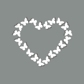 White butterflies forming a heart