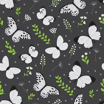 白い蝶のシームレスパターン