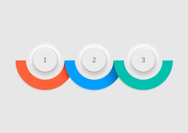 白いボタン-番号オプションバナーとインフォグラフィック