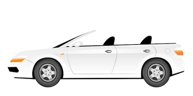 화이트 쿠페 형 자동차 만화 그림입니다. 지붕 색상 개체가없는 우아한 여름 차. 고급스러운 운송 차량. 흰색 바탕에 세련 된 개인 자동차