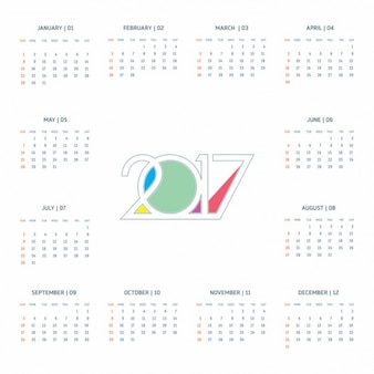 White calendar for the year 2017