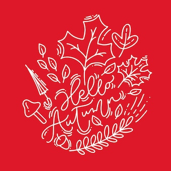 White calligraphy lettering text hello autumn on red background