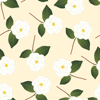 White camellia flower on beige ivory background.