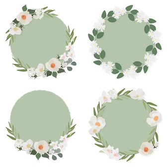 White camellia flower on green circle wreath frame collection flat style